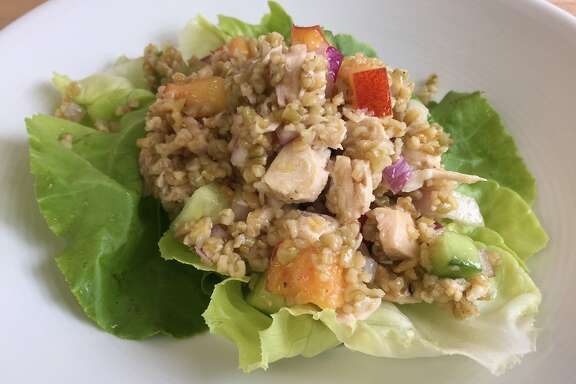 Freekeh salad with chicken and nectarines