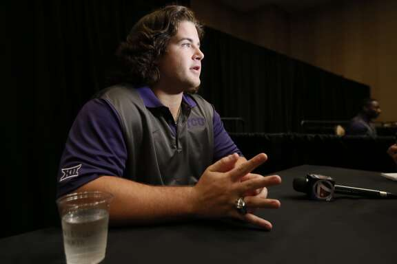 TCU offensive lineman Joey Hunt responds to questions during Big 12 Conference Football Media Days, Monday, July 20, 2015, in Dallas. (AP Photo/Tony Gutierrez)