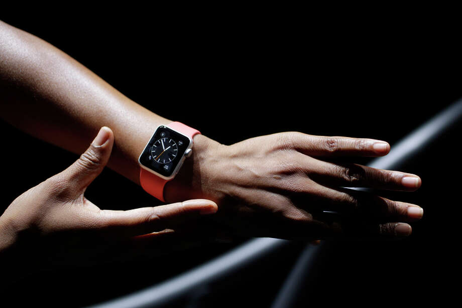 A model shows off the Apple Watch during an event unveiling the device in September. Photo: Marcio Jose Sanchez / Marcio Jose Sanchez / Associated Press 2014 / AP