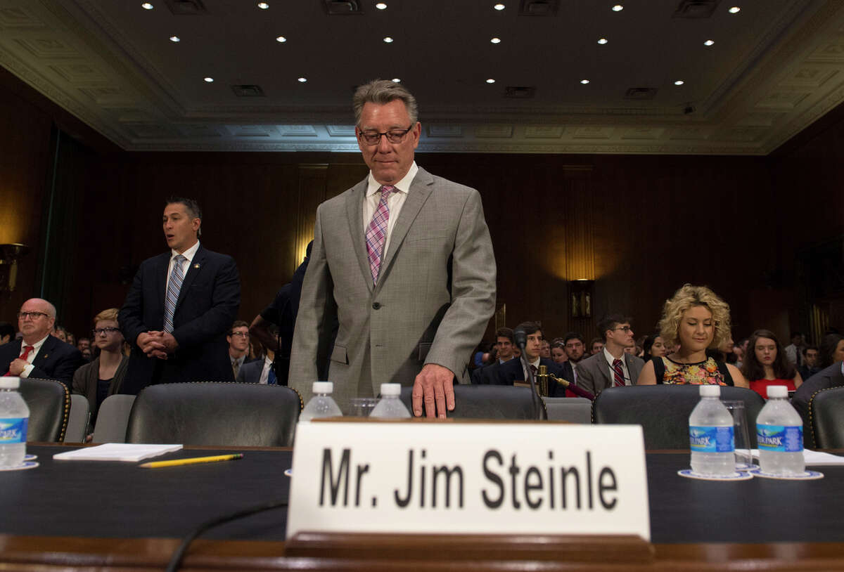 Jim Steinle arrives to testify before a Senate hearing on immigration enforcement.