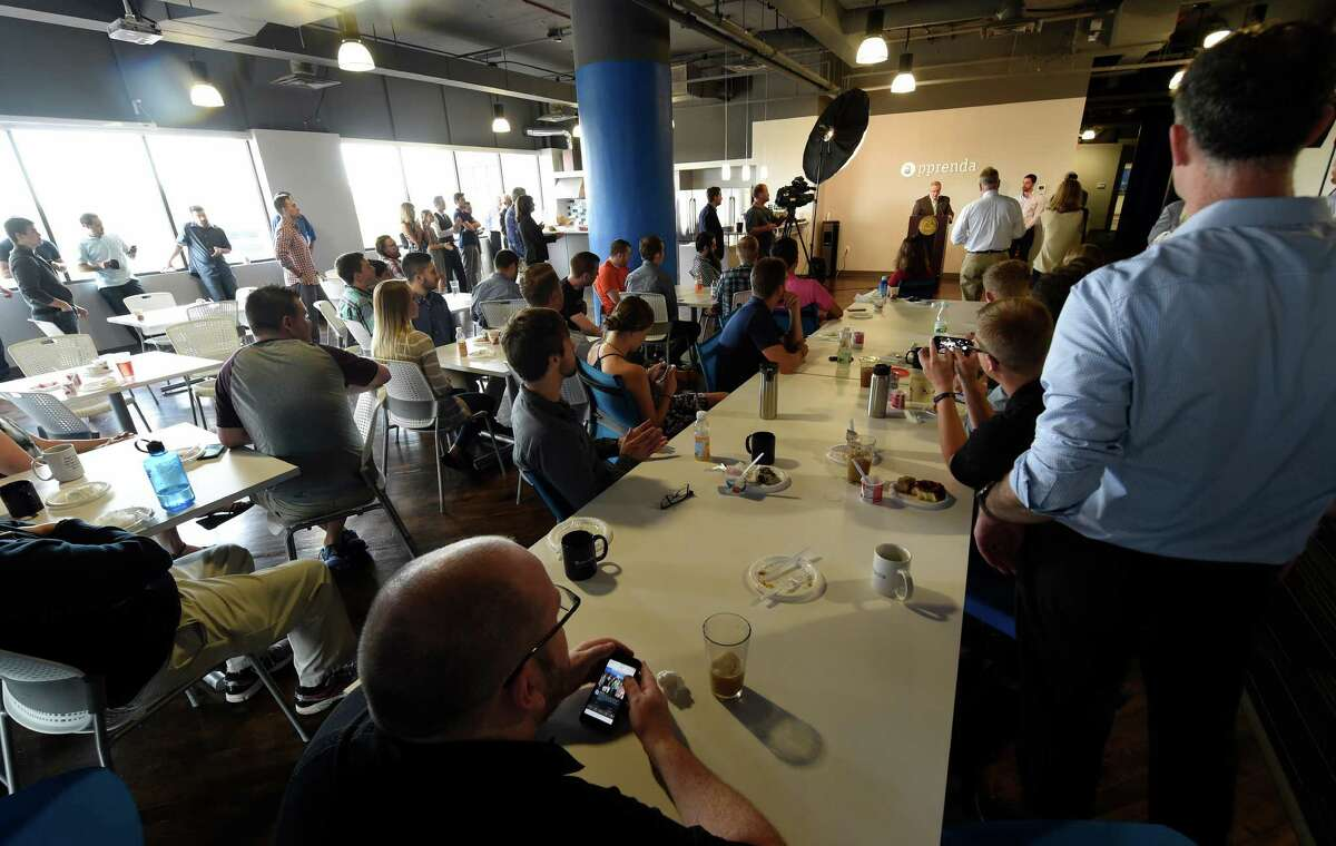 Employees, dignitaries and political figures assembled for the announcement of the receipt of $24M for Apprenda, Tuesday morning July 21, 2015 in Troy, N.Y. Apprenda provides software to help those more legacy-minded institutions take advantage of advanced cloud computing without having to rewrite all of their code. (Skip Dickstein/Times Union)