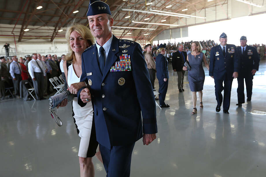 Lt. General Darryl Roberson and his wife, Cheryl, exist a Change of Command ceremony at Randolph Air Force Base, Tuesday, July 21, 2015. Roberson takes over the Air Education and Training Command, Joint Base San Antonio-Randolph, Texas from General Robin Rand after leading the 3rd Air Force/17th Expeditionary Air Force out of Ramstein Air Base, Germany. Photo: JERRY LARA, Staff / San Antonio Express-News / © 2015 San Antonio Express-News