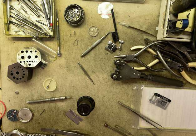 Michael Laiacona's watch repair tools at his kiosk Time & Time Again Tuesday morning July 21, 2105 in Colonie Center in Colonie, N.Y.       (Skip Dickstein/Times Union) Photo: SKIP DICKSTEIN / 00032689A