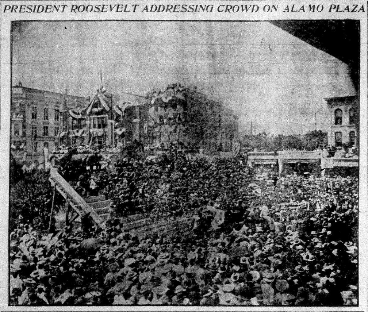 President Theodore Roosevelt is shown giving a speech in Alamo Plaza on April 7, 1905, during a visit to San Antonio for a Rough Riders reunion. Photo taken from microfilm image of the San Antonio Express, April 8, 1905.