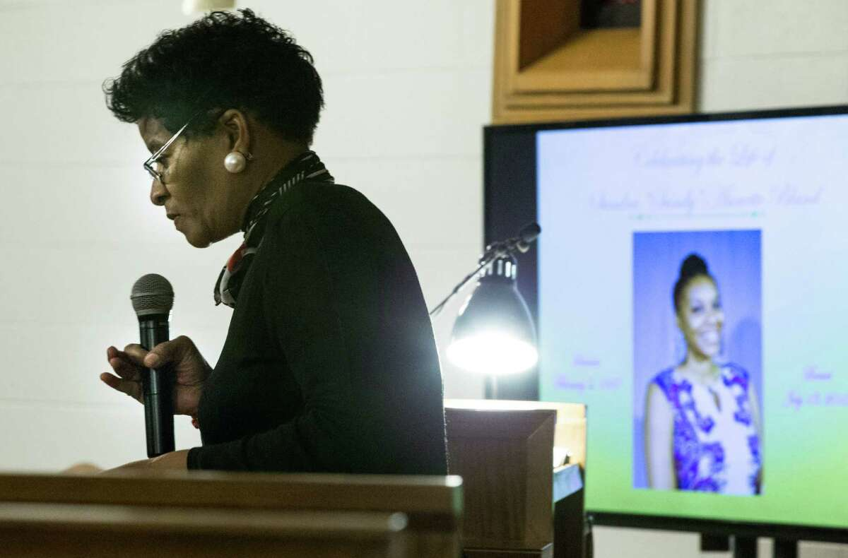 Geneva Reed-Veal, speaks during a memorial service for her daughter, Sandra Bland, at All Faiths Chapel on the campus of Prairie View A&M University on Tuesday, July 21, 2015, in Houston. Bland, a 28-year-old African American woman, was arrested July 10, after being stopped by a Department of Public Safety trooper for failing to signal a lane change. A DPS spokesman said she was arrested after becoming