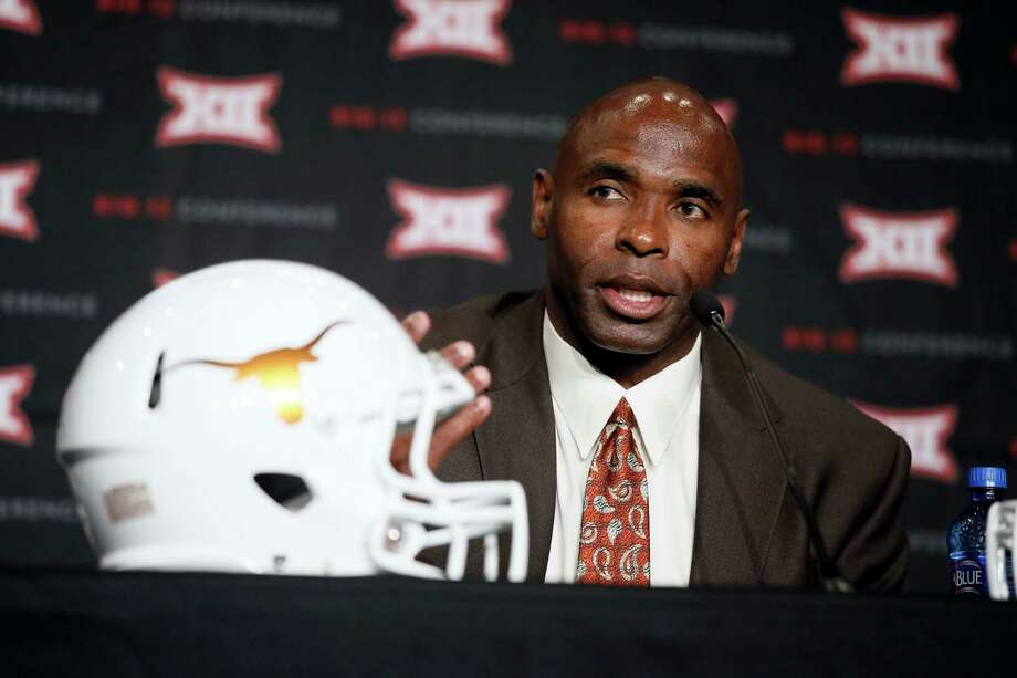 Texas head football coach Charlie Strong responds to questions during the Big 12 Conference Football Media Days Tuesday, July 21, 2015, in Dallas. (AP Photo/Tony Gutierrez) Photo: Tony Gutierrez, STF / AP
