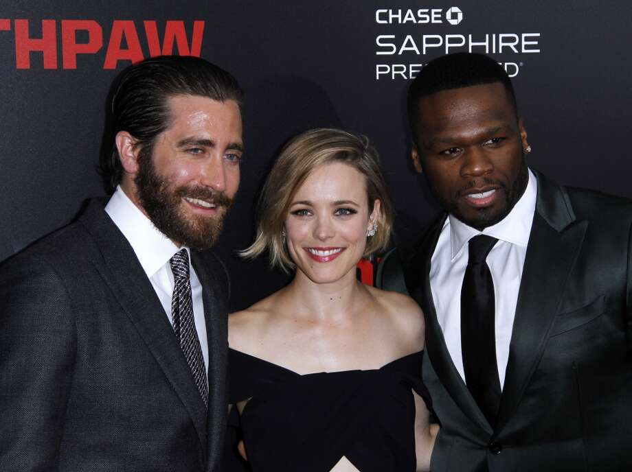 "Jake Gyllenhaal, Rachel McAdams and Curtis ""50 Cent"" Jackson attend the ""Southpaw"" New York premiere at AMC Loews Lincoln Square on July 20, 2015 in New York City.  (Photo by Donna Ward/Getty Images) Photo: Donna Ward, Getty Images"