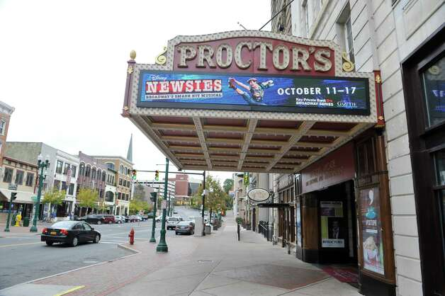 "A view of the ""Newsies"" sign on Proctor's, seen here on Monday, Oct. 13, 2014, in Schenectady, N.Y.   (Paul Buckowski / Times Union) Photo: Paul Buckowski / 10029018A"