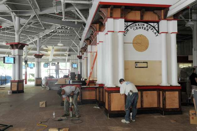 Workers finish the new Tom Durkin Replay Center at Saratoga Race Course on Tuesday July 21, 2015 in Saratoga Springs, N.Y. (Michael P. Farrell/Times Union) Photo: Michael P. Farrell / 00032704A