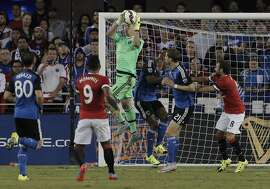 San Jose's David Bingham (1) defends against a shot in the first period of a friendly International Champions Cup match between the San Jose Earthquakes and Manchester United at Avaya Stadium in San Jose, Calif., on Tuesday, July 21, 2015.
