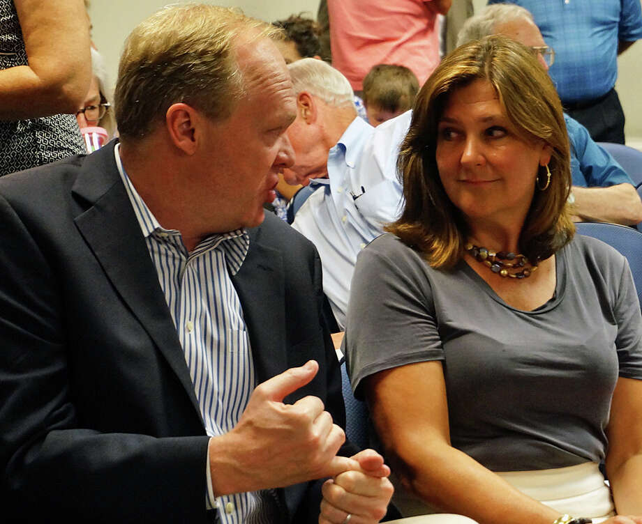 Selectman Kevin Kiley talks with his challenger for the GOP endorsement, Representative Town Meeting member Laurie McArdle, as they wait for the caucus ballots to be counted Tuesday. McArdle won the party endorsement. Photo: Genevieve Reilly / Fairfield Citizen / Fairfield Citizen