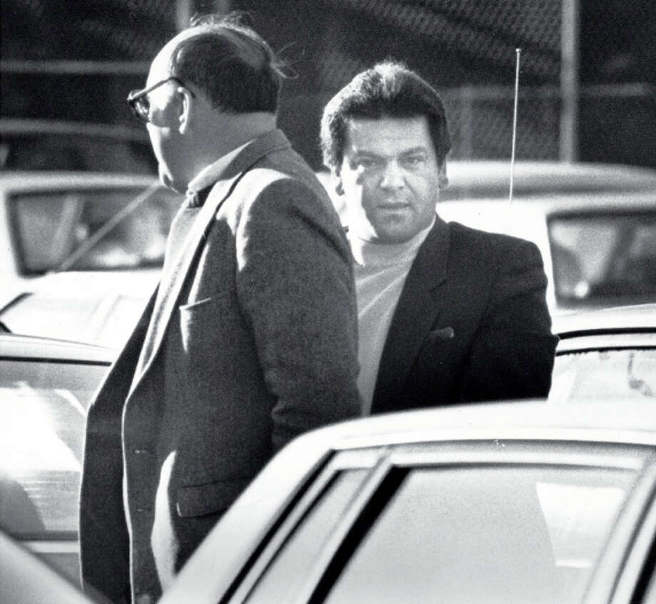 Anthony Megale, right, is taken to U.S. District Court in Bridgeport in December, 1989 for a bond hearing. Photo: John Voorhees, Advocate File Photo