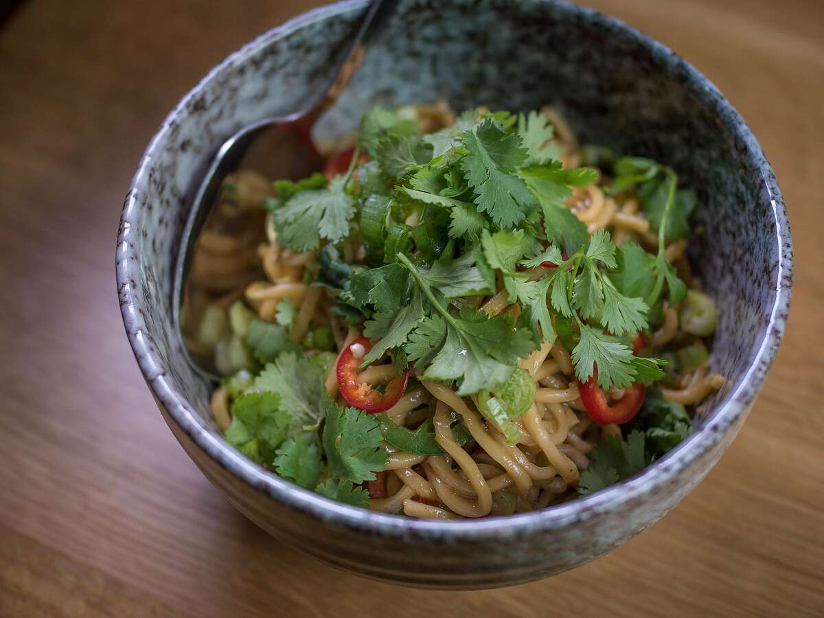 The spicy Garlic Noodles at Chubby Noodle in San Francisco, Calif., are seen on July 21st, 2015.