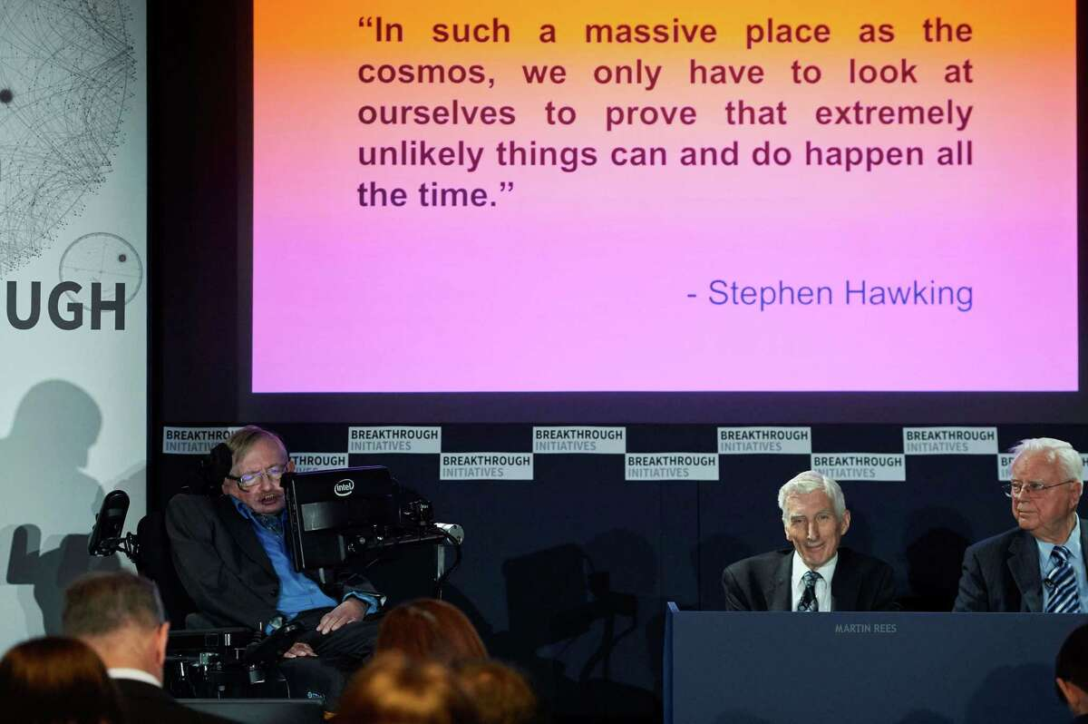 British scientist Stephen Hawking attends a press conference in London on July 20, 2015, where he and Russian entrepreneur and co-founder of the Breakthrough Prize, Yuri Milner, annouced the launch of Breakthrough Initiative, a new project to attempt to detect life in the Cosmos. AFP PHOTO / NIKLAS HALLE'NNIKLAS HALLE'N/AFP/Getty Images