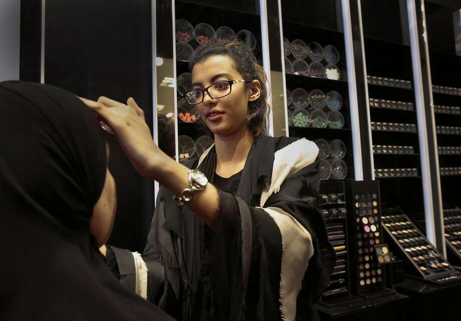 Rizan Ahmed is paying her way through college by working at a makeup counter in one of Riyadh's ritziest shopping malls, the Kingdom Center. Photo: Carolyn Cole, McClatchy-Tribune News Service