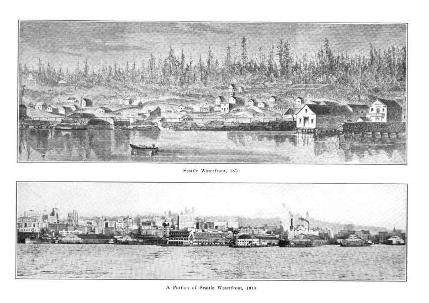 These two images from the Bogue plan show the massive growth of the Seattle waterfront from 1870 to 1910. Virgil Bogue foresaw that growth continuing throughout the century. As it turned out, the popularity of cars would upend the popularity of inner city living in Seattle, stalling growth in the core of the city for several decades.