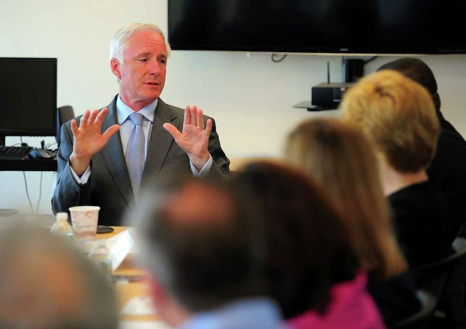 Mayor Bill Finch meets with the board of United Way of Coastal Fairfield County at their offices on Main Street in Bridgeport, Conn., on Wednesday July 22, 2015. Photo: Christian Abraham / Hearst Connecticut Media / Connecticut Post