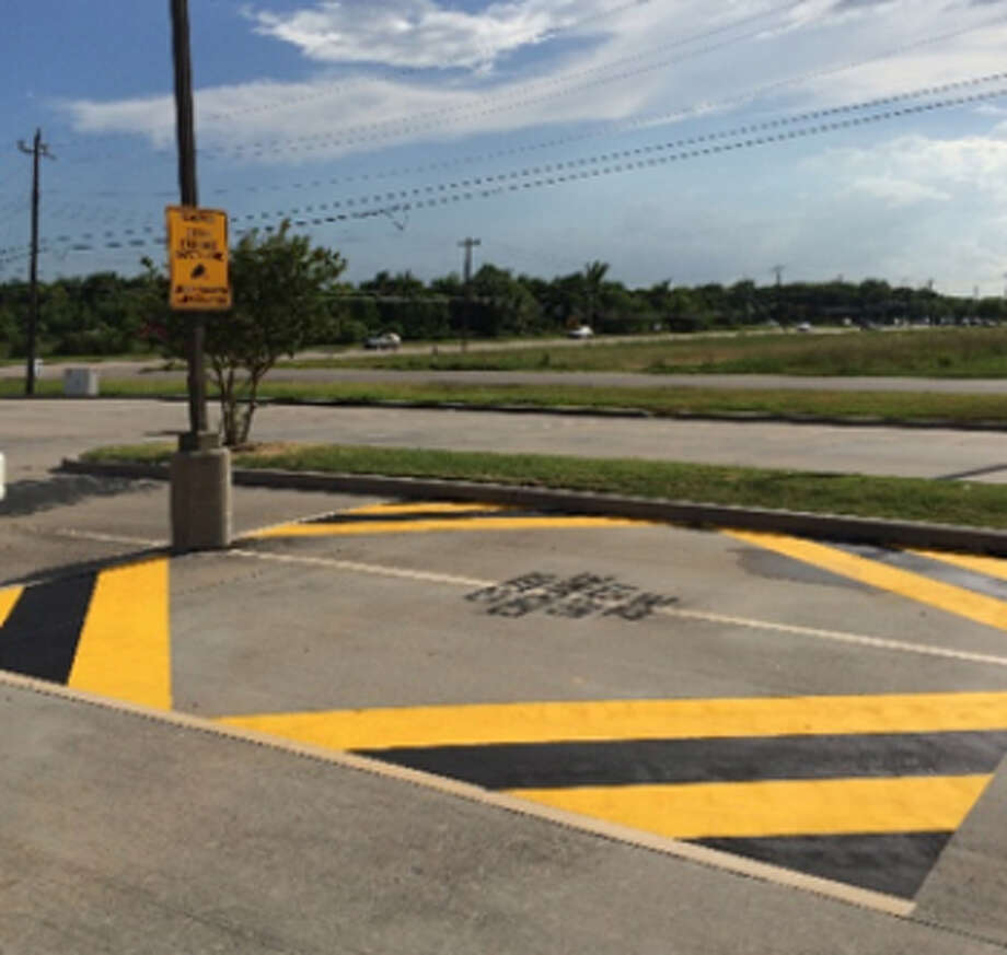 """The La Porte Police Department has installed a safe zone in the parking lot in front of its facility in the 300 block of North 23rd Street. The hope is that this """"citizen exchange safety zone"""" provide a well-lit, camera-monitored place for people to make property exchanges and online sales transactions. Photo: La Porte Police Department"""