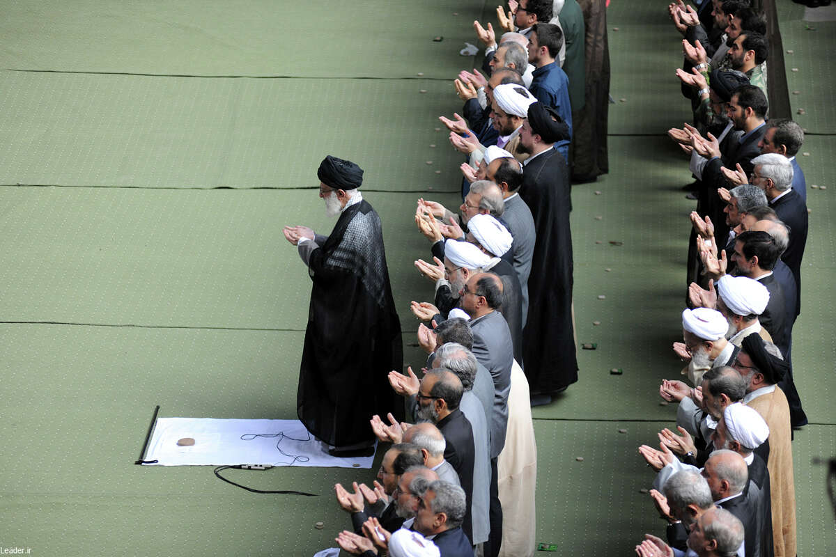 Ayatollah Ali Khamenei leads Eid al-Fitr prayers in Tehran last week. Khamenei, the supreme leader of Iran, voiced support for his country's nuclear deal with world powers while emphasizing that the agreement would not end Iran's hostility toward the United States and its allies, especially Israel.