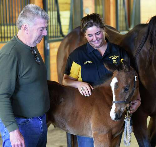 Mike Tobin, farm manager, left speaks with staff member Nicolina Foti as she holds a foal at the Birsh Family Farm, the home of one of this years Kentucky Derby entrant Tencendur Wednesday morning  April 22, 2015 in Galway, N.Y.      (Skip Dickstein/Times Union) Photo: SKIP DICKSTEIN / 00031559A
