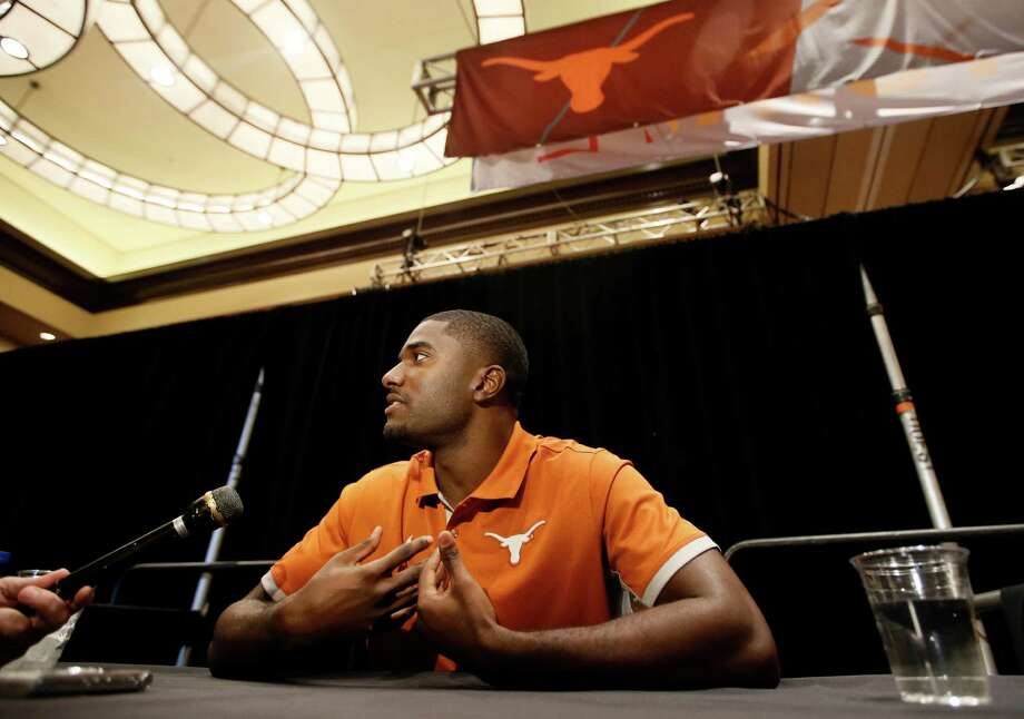 Texas cornerback Duke Thomas talks with reporters during Big 12 Conference Football Media Days Tuesday, July 21, 2015, in Dallas. Photo: Tony Gutierrez /Associated Press / AP