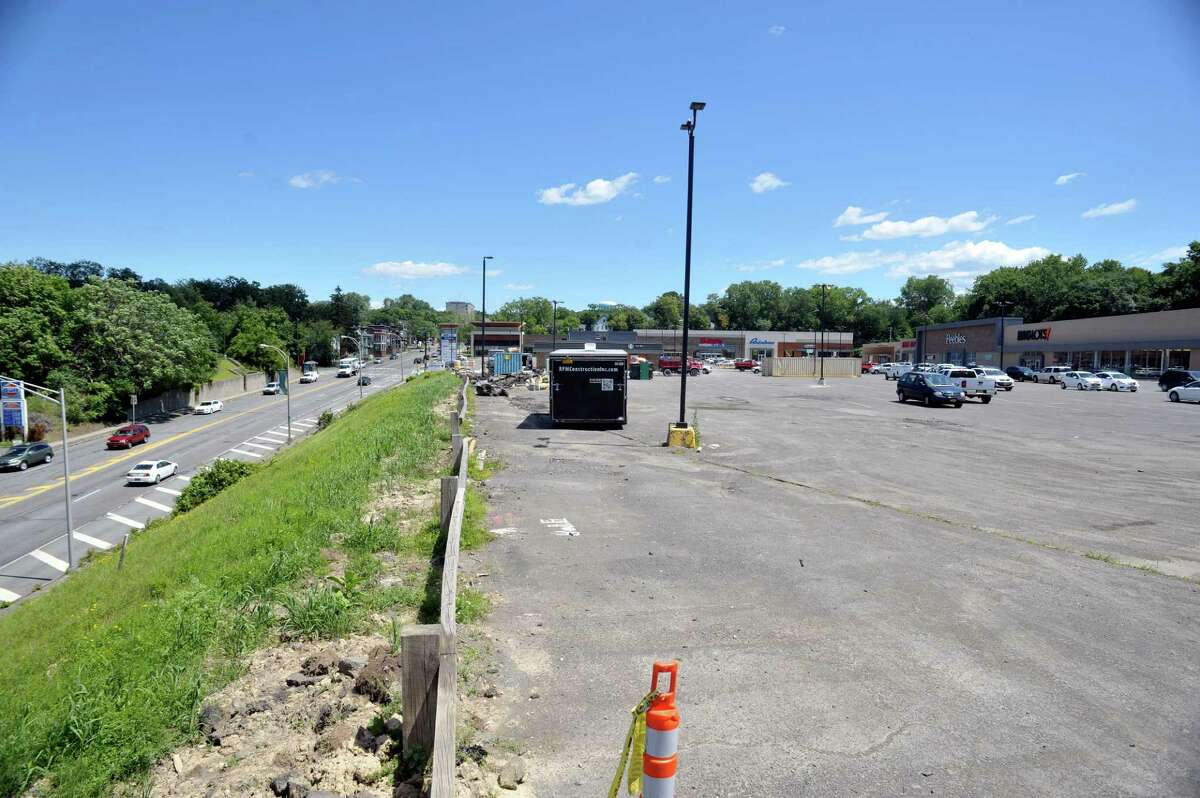 A view of a portion of the parking lot located at 120 Hoosick St., on Wednesday, July 22, 2015, in Troy, N.Y. (Paul Buckowski / Times Union)