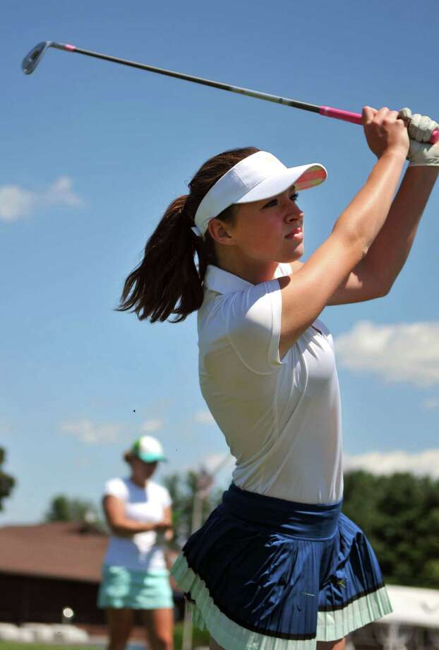 Shaker High student Madison Braman, 16, practices on the driving range on Wednesday, July 22, 2015, at Capital Hills Golf Course in Albany, N.Y. (Phoebe Sheehan/Special to The Times Union). Photo: PS / 00032712A