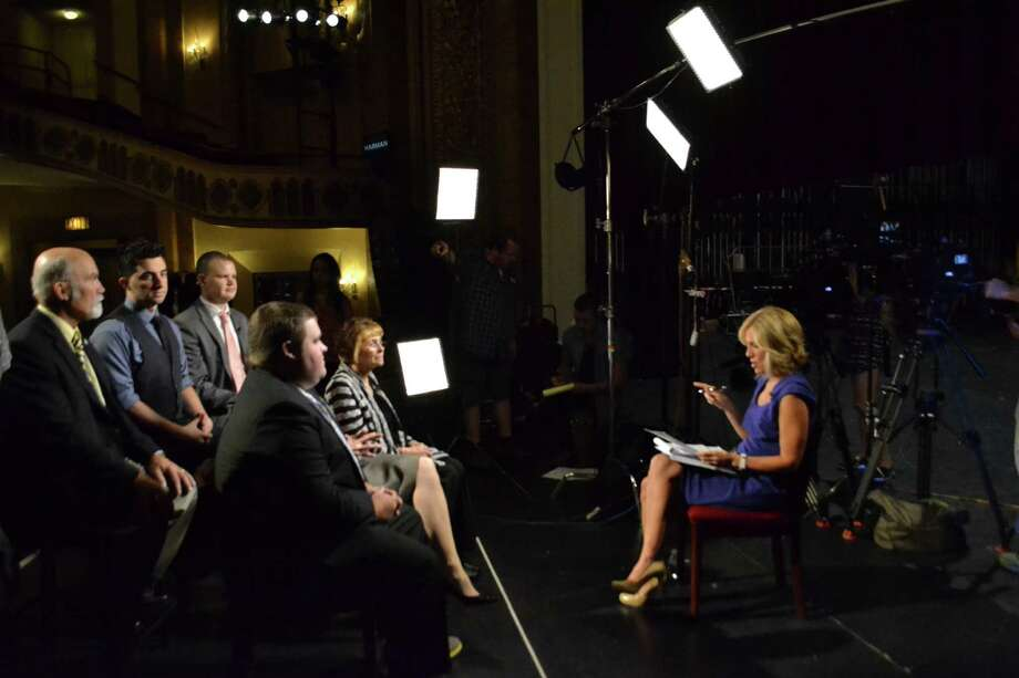 The historic Palace Theater in downtown Stamford was the backdrop for a taping of CNN anchor Alisyn Camerota talking to six people Wednesday morning who talked about why they support Donald Trump for president. Photo: Annie C. Ludtke / The Palace Theatre / Stamford Advocate  contributed