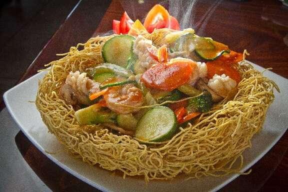 Bird's nest Vietnamese crispy noodles.