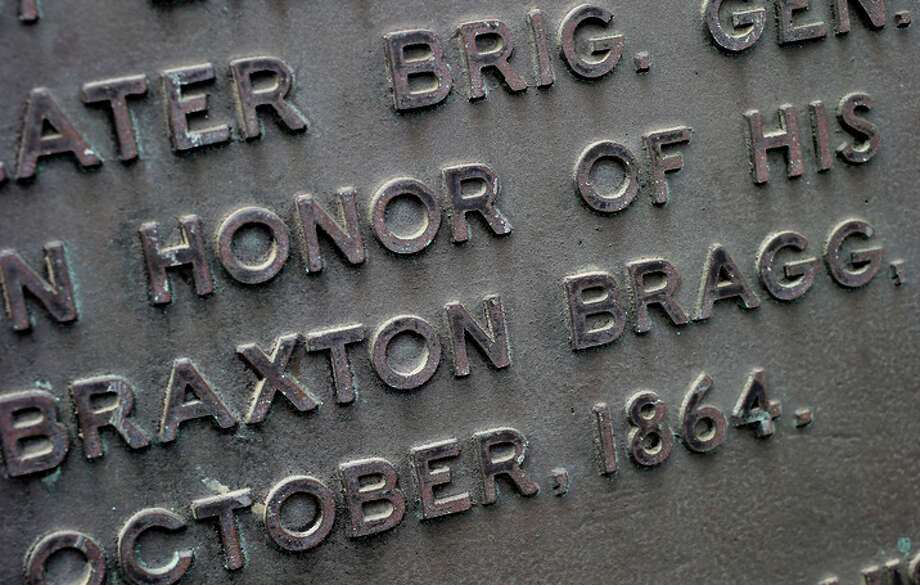 A historical market on Main Street mentions Gen. Braxton Bragg, but there is very little about him in the museum nearby. Photo: Brant Ward / ONLINE_YES