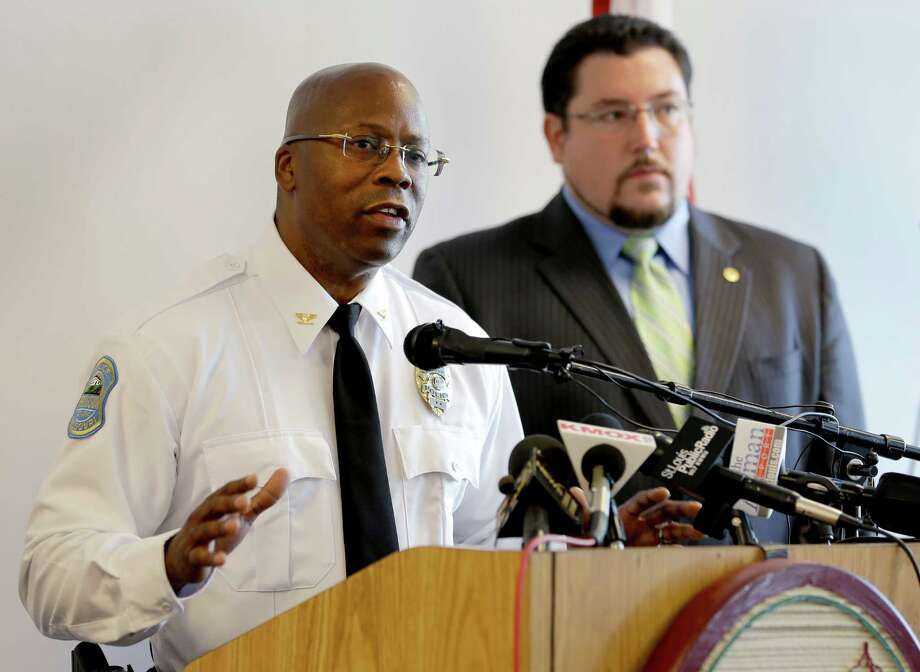 "Andre Anderson, speaking alongside Ferguson Mayor James Knowles, says, ""I believe I am the right particular person"" to serve as police chief. Photo: Jeff Roberson / Associated Press / AP"