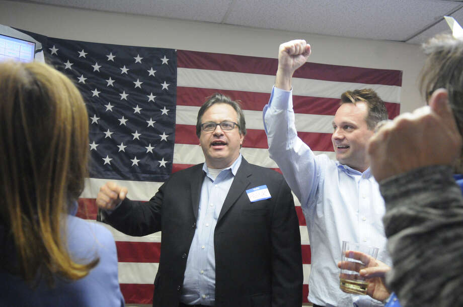 Frank Farricker, Drew Marzullo and Democrats gather at Democratic Headquarters on the Old Post Road in 2014. Photo: Keelin Daly / Keelin Daly / Stamford Advocate Freelance