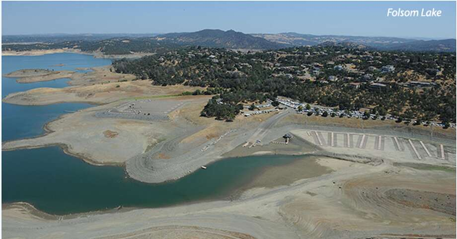 Aerial view of Folsom Lake shot July 20th, 2015 showing devastating drought conditions. Photo credit: Paul Hames, DWR Photography