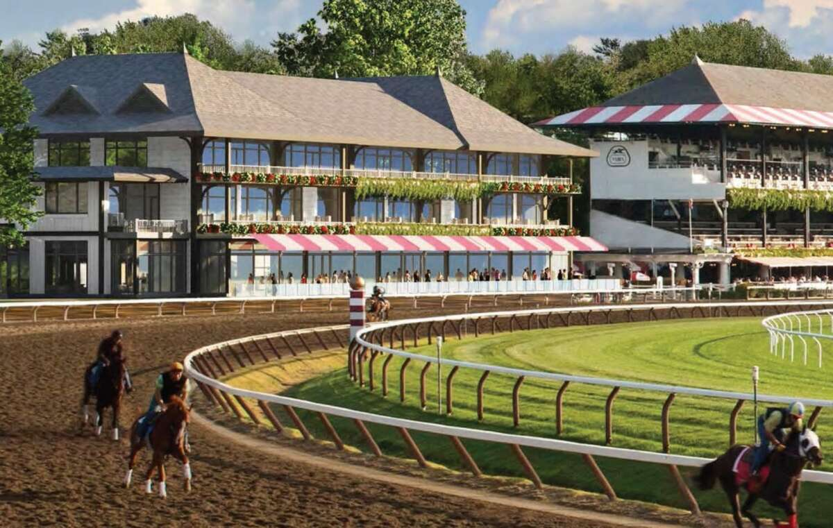 The New York Racing Association on April 30, 2015, released an updated artist's rendering of the three-level At the Rail building it proposes building at Saratoga Race Course. (NYRA image)