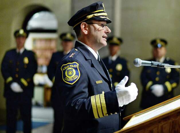 New Albany Police Chief Brendan Cox speaks during his swearing-in ceremony at Albany City Hall Wednesday July 22, 2015 in Albany, NY.   (John Carl D'Annibale / Times Union) Photo: John Carl D'Annibale / 00032714A