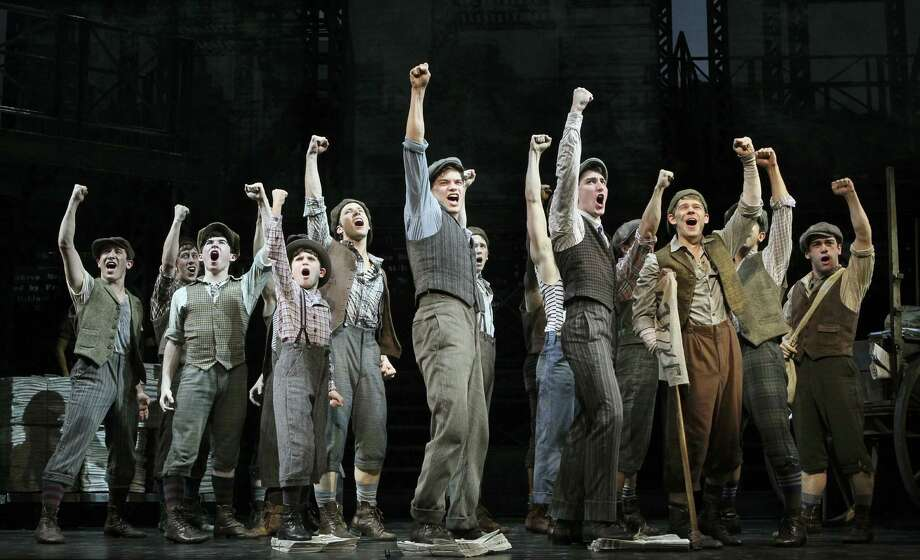 "Actors in a scene from the musical ""Newsies: The Musical"" at the Nederlander Theater in New York. The show tells the story of a 1899 New York newsboy strike that teems with defiant ragamuffins, anthems and backflips. (New York Times) ORG XMIT: MER2015072120332687 Photo: SARA KRULWICH / NYTNS"