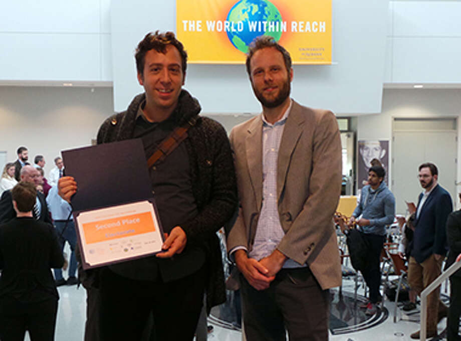 UAlbany AVAIL researchers Alex Muro (left) and Eric Krans (right) recently placed second in the AT&T Tech Valley Civic App Challenge for their web application Electorate.