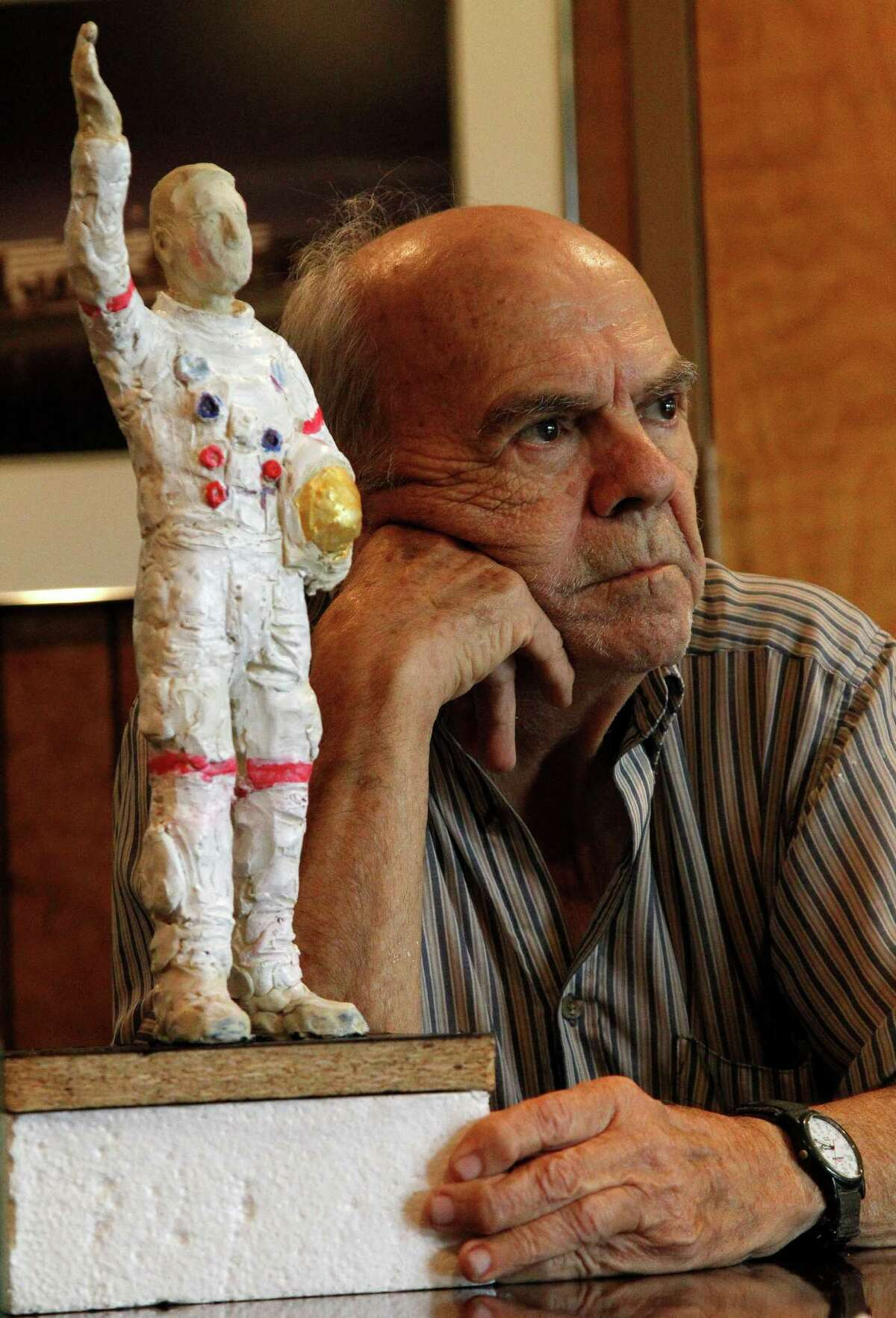 Artist David Adickes is creating a statue of an Apollo astronaut in Webster. He and others discussed the project on Wednesday in Houston. The statue will be 100 feet tall.
