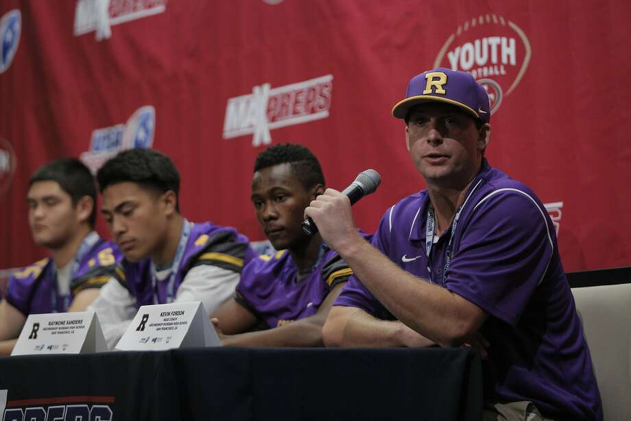 Head coach Kevin Fordon of Archbishop Riordan High addresses media during High School Football Media Day at Levi's Stadium in Santa Clara, CA, on Wednesday, July 22, 2015. The event was hosted by the San Francisco 49ers, USA Football and MaxPreps. Photo: Loren Elliott, The Chronicle