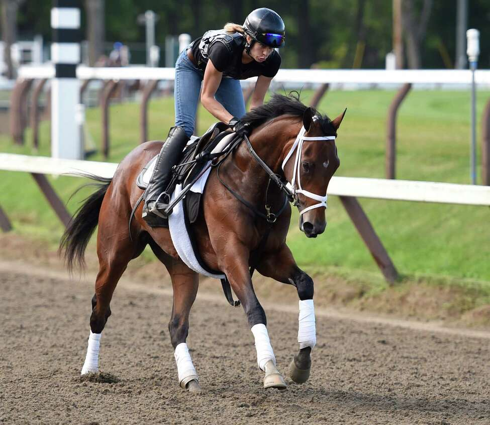 Rachel's Valentina goes out for her exercise this morning July 22, 2015, on the main track at the Saratoga Race Course in Saratoga Springs, N.Y. (Skip Dickstein/Times Union)