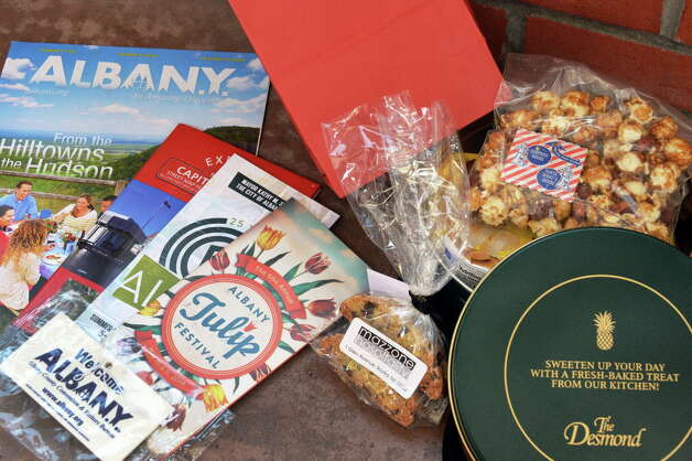A free gift bag with snacks and tokens of appreciation for taxi drivers from the Albany County Convention & Visitors Bureau during their 5th Taxi Day at Thursday May 8, 2014, in Colonie, NY.  (John Carl D'Annibale / Times Union) Photo: John Carl D'Annibale / 00026814A