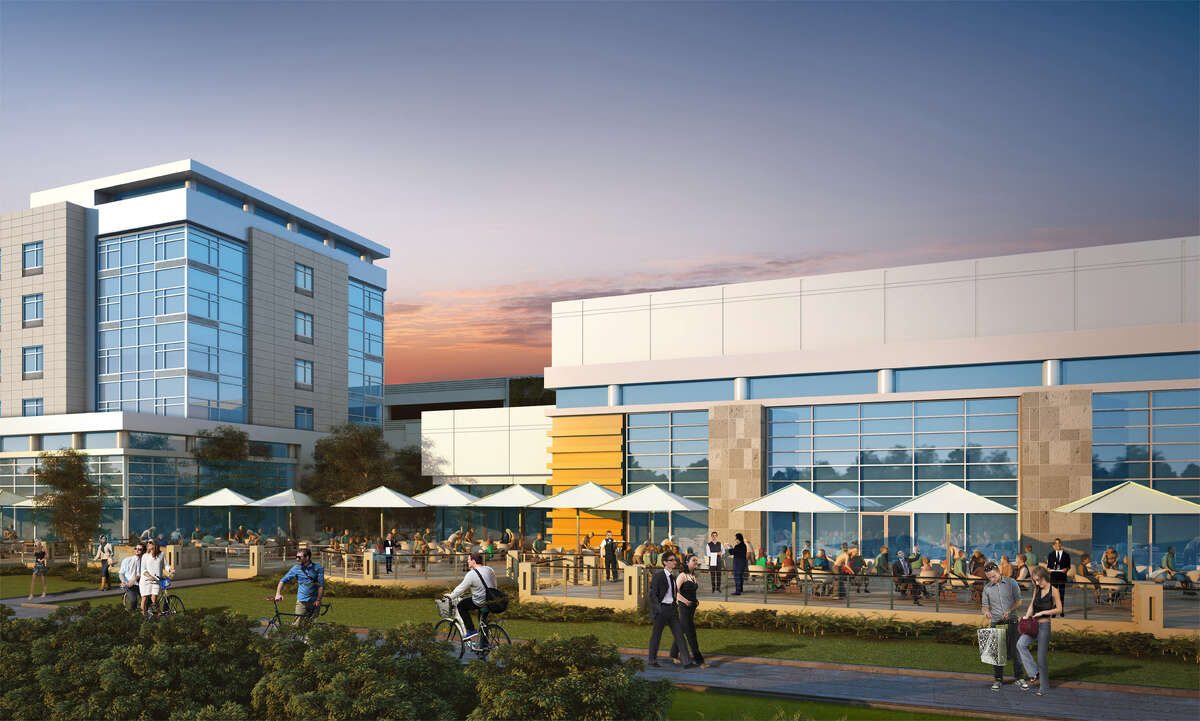 Latest rendering of the Schenectady Rivers Casino, with a view of the a view of the patio and the adjacent hotel.