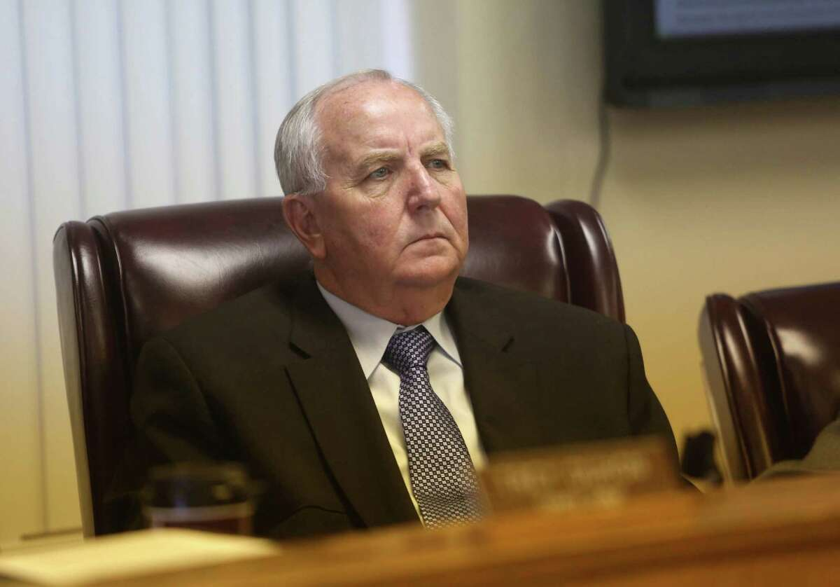 Russell Klecka, commissioner precinct 2, listens to citizens asking county commissioners for the resignation of Waller County Sheriff Glenn Smith in a Waller County meeting of Commissioners Court at the courthouse Wednesday, July 22, 2015, in Hempstead, Texas. Sandra Bland, 28, was found dead in her cell at the Waller County Jail days after she was detained by police during a routine traffic stop.
