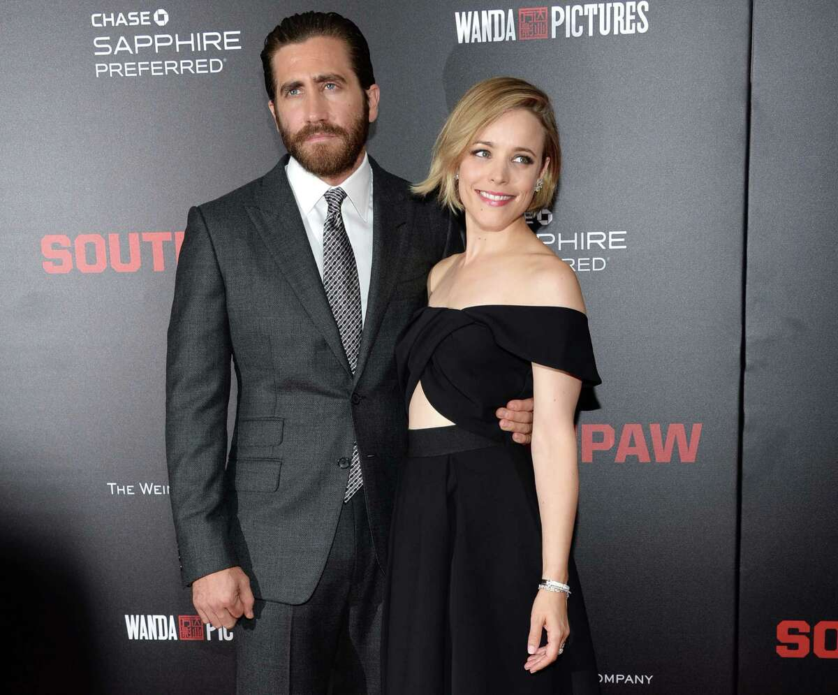 Jake Gyllenhaal, left, and Rachel McAdams attend the premiere of
