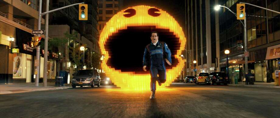 "Josh Gad is no match for Pac-Man in ""Pixels."" Photo: Sony Pictures / Sony Pictures"