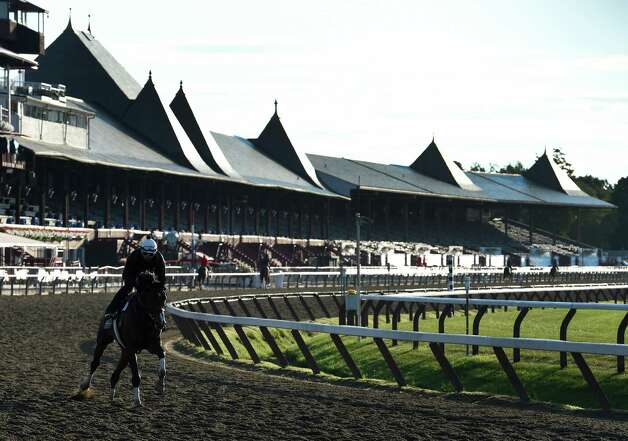 The main track is busy with horses out for their morning exercise Thursday July 23, 2015 at the Saratoga Race Course in Saratoga Springs, N.Y.  Friday is opening day for the meeting will will have 40 days of racing over six weeks.    (Skip Dickstein/Times Union) Photo: SKIP DICKSTEIN / 00032589A
