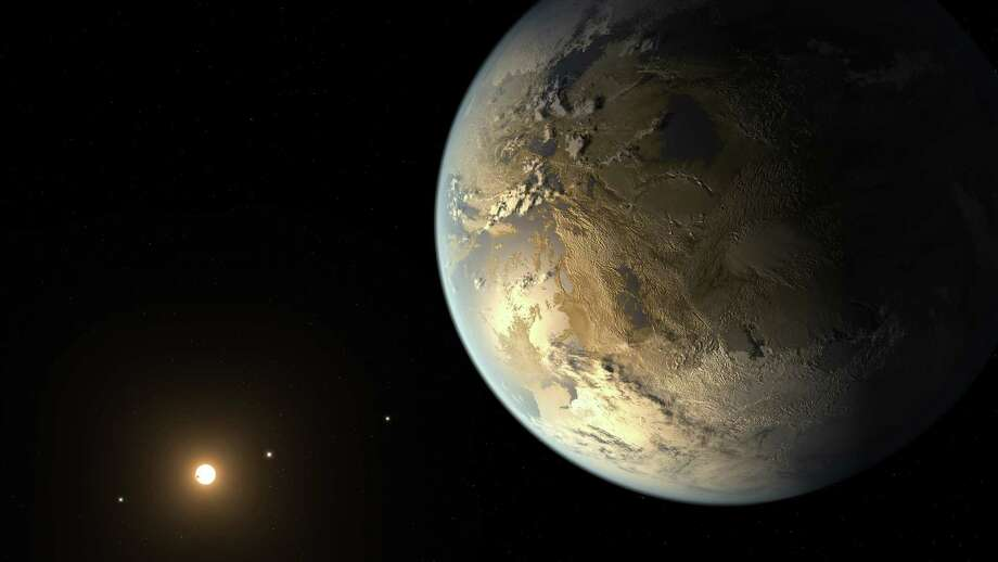 Kepler-186f, the first Earth-size Planet in the Habitable Zone: The artist's concept depicts Kepler-186f, the first validated Earth-size planet to orbit a distant star in the habitable zone, a range of distances from a star where liquid water might pool on the surface of an orbiting planet. The discovery of Kepler-186f confirms that Earth-size planets exist in the habitable zone of other stars and signals a significant step closer to finding a world similar to Earth. NASA's Kepler planet-hunting spacecraft announced Thursday that they had found what might be one of the closest analogues to our world yet, Kepler 452b. Photo: NASA Ames / /SETI Institute /JPL-Caltech / ONLINE_YES