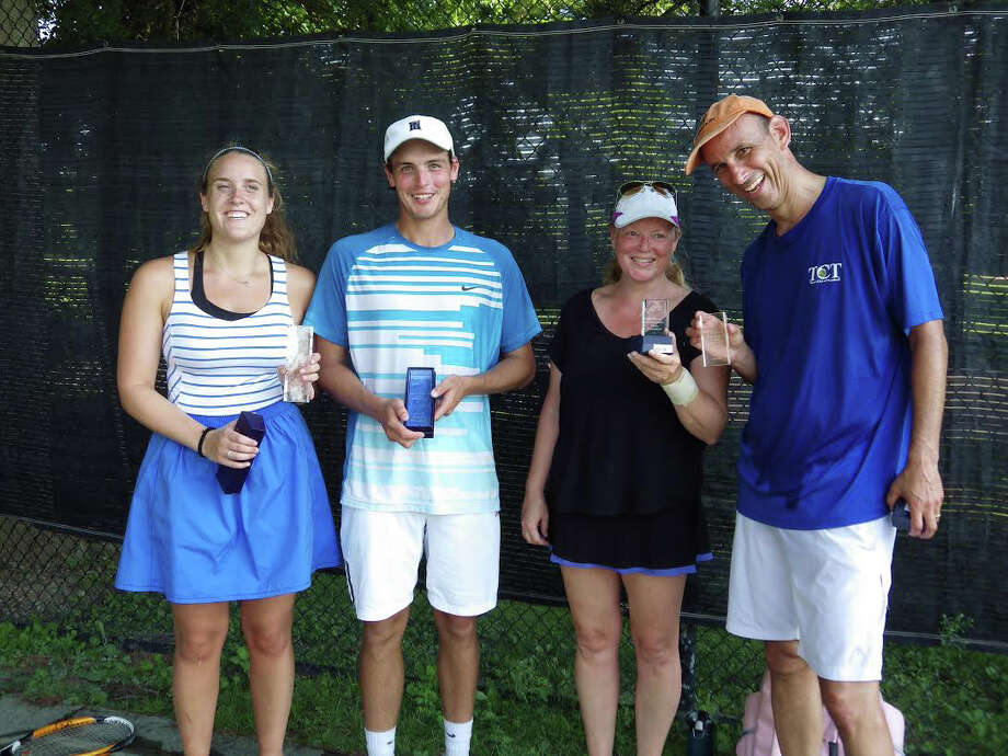 The 76th Fairfield Town Tennis Tournament was played July 11-12 at the Fairfield Tennis Center. The team of Caitlin Canella/James Reiss, from left, was the mixed doubles champions. Pam Reiss, third from left, and Charles Lipset were the runner-ups. Photo: Contributed Photo / Connecticut Post Contributed