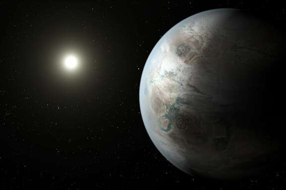 "This artist's concept depicts one possible appearance of the planet Kepler-452b, the first near-Earth-size world to be found in the habitable zone of star that is similar to our sun. The habitable zone is a region around a star where temperatures are right for water -- an essential ingredient for life as we know it -- to pool on the surface. Scientists do not know if Kepler-452b can support life or not. What is known about the planet is that it is about 60 percent larger than Earth, placing it in a class of planets dubbed ""super-Earths."" While its mass and composition are not yet determined, previous research suggests that planets the size of Kepler-452b have a better than even chance of being rocky. Kepler-452b orbits its star every 385 days. The planet's star is about 1,400 light-years away in the constellation Cygnus. It is a G2-type star like our sun, with nearly the same temperature and mass. This star is 6 billion years old, 1.5 billion years older than our sun. As stars age, they grow in size and give out more energy, warming up their planets over time."