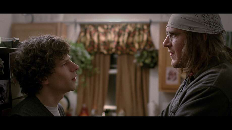 "Jesse Eisenberg (left) as David Lipsky and Jason  Segel (right) as David Foster Wallace in ""The End of the Tour."" Photo: A24"